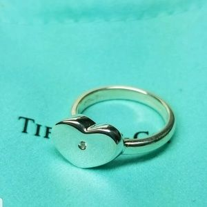 Tiffany &Co  Modern Heart w/diamond ring sz 9.5
